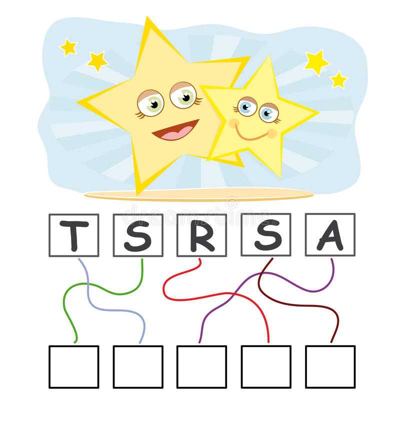 Word game with stars stock illustration