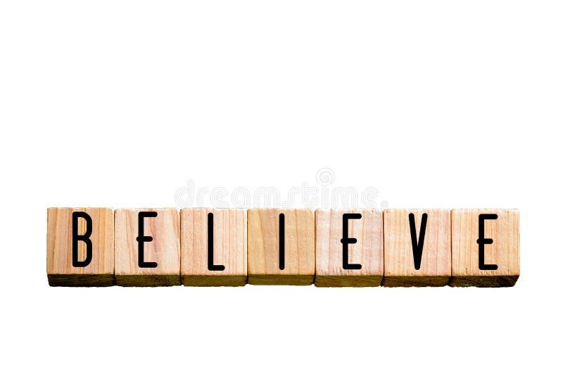 Word GELOOFT geïsoleerd op witte achtergrond met exemplaarruimte stock afbeelding