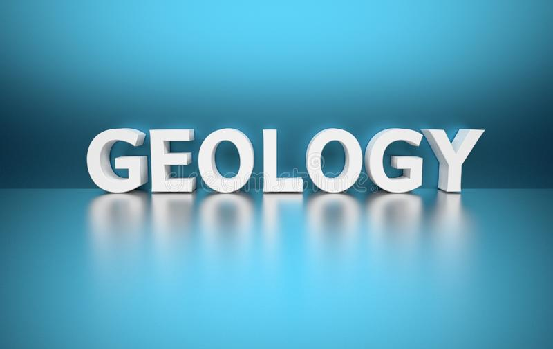 Word Geology on blue background. Simple illustration with word Geology written in white letters on blue background. 3d illustration stock illustration