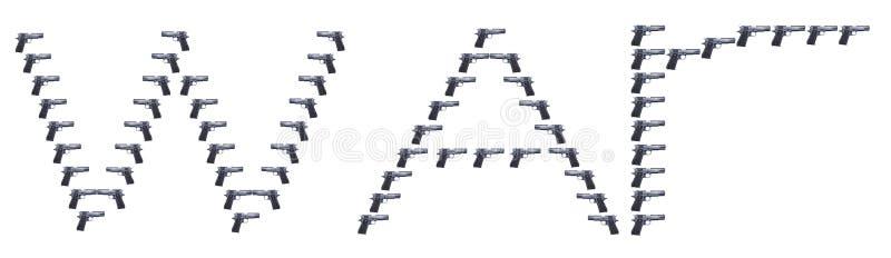 Word geschreven oorlog gebruikend karakters van een Veulenpistolen royalty-vrije stock fotografie