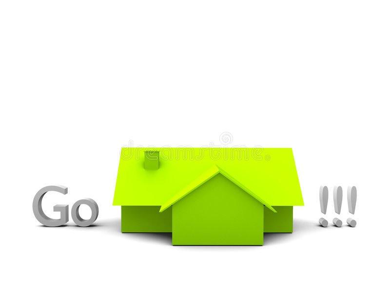 Word go and green house stock illustration