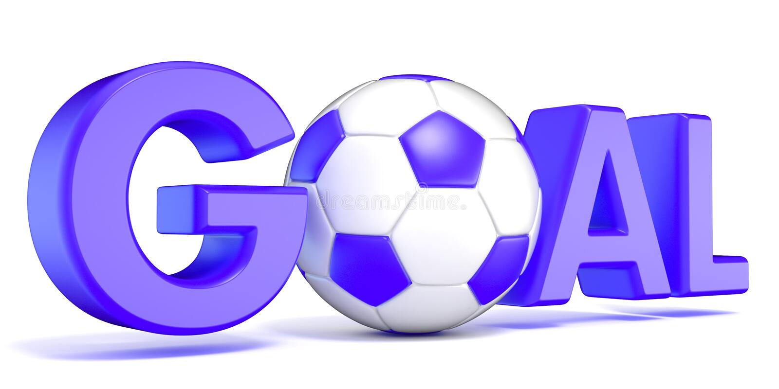 Word GOAL with the football, soccer ball. Blue color. 3D royalty free illustration