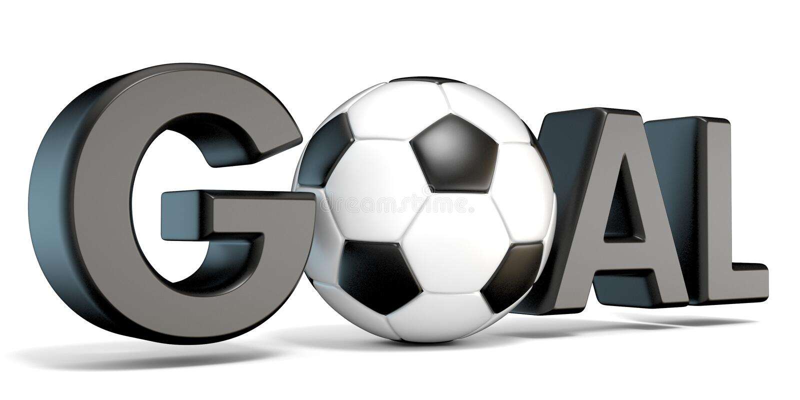 Word GOAL with the football, soccer ball. 3D vector illustration