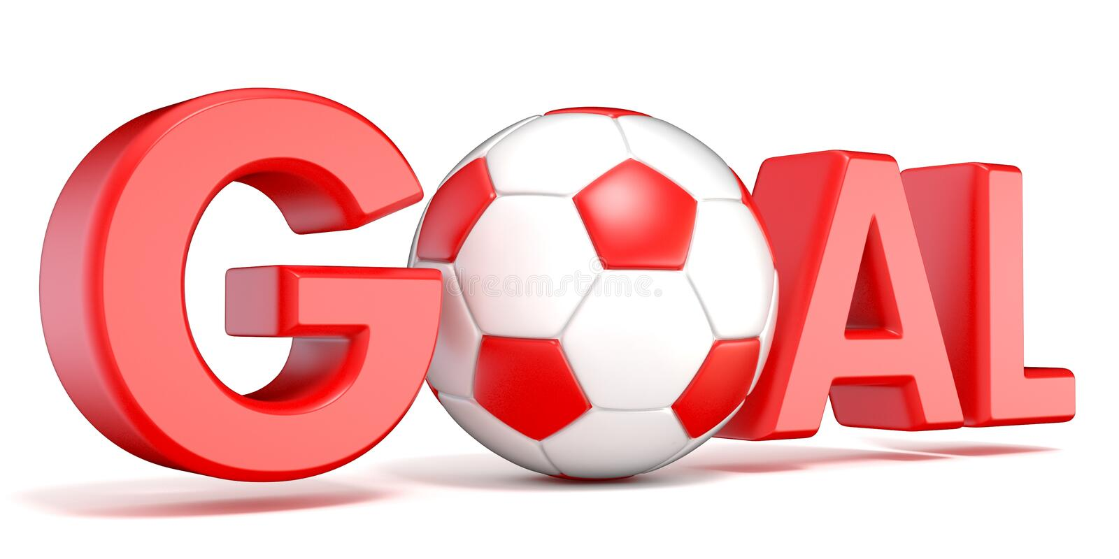 Word GOAL with the football, soccer ball. 3D royalty free illustration