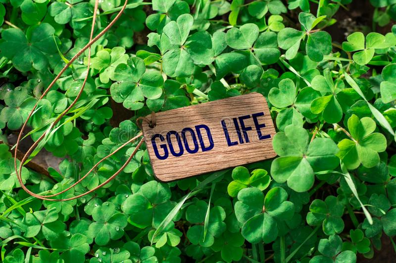 The word good life wooden tag stock photos