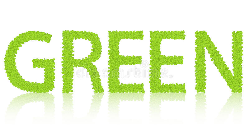Download Word Of The Green  On White. Royalty Free Stock Images - Image: 36420129