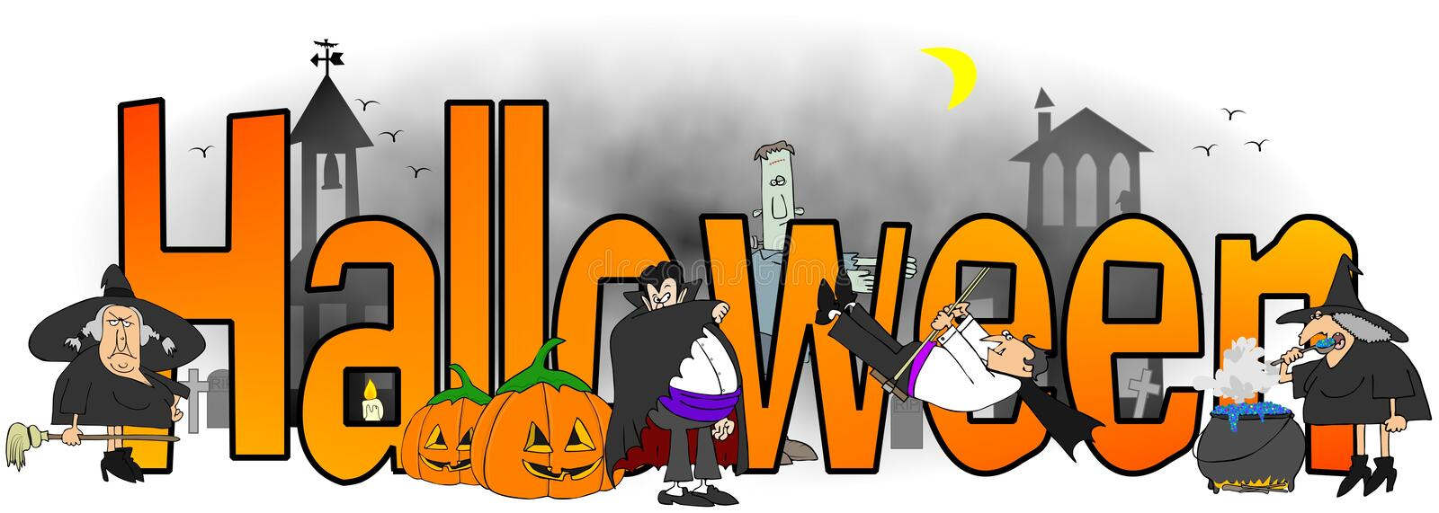The word Halloween surrounded by witches, vampires and monsters stock illustration