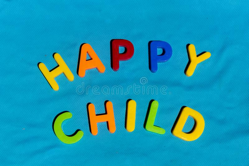 The word Happy Child composed from letters stock images