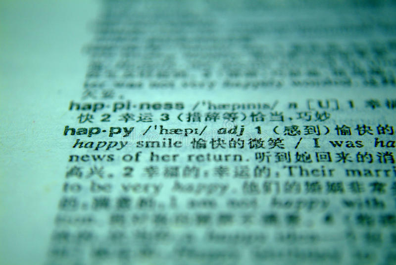 The word happy in a dictionary.  royalty free stock images