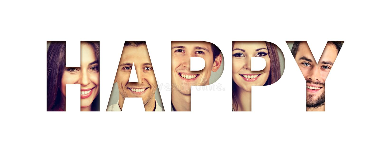 Word happy made of cheerful smiling young faces stock photo