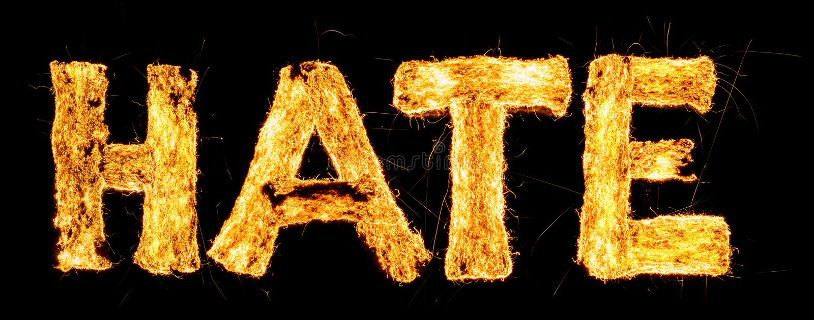 Word HATE burning. Steel wool smoldering. Beautiful combustion. Exciting typography, font. royalty free stock images