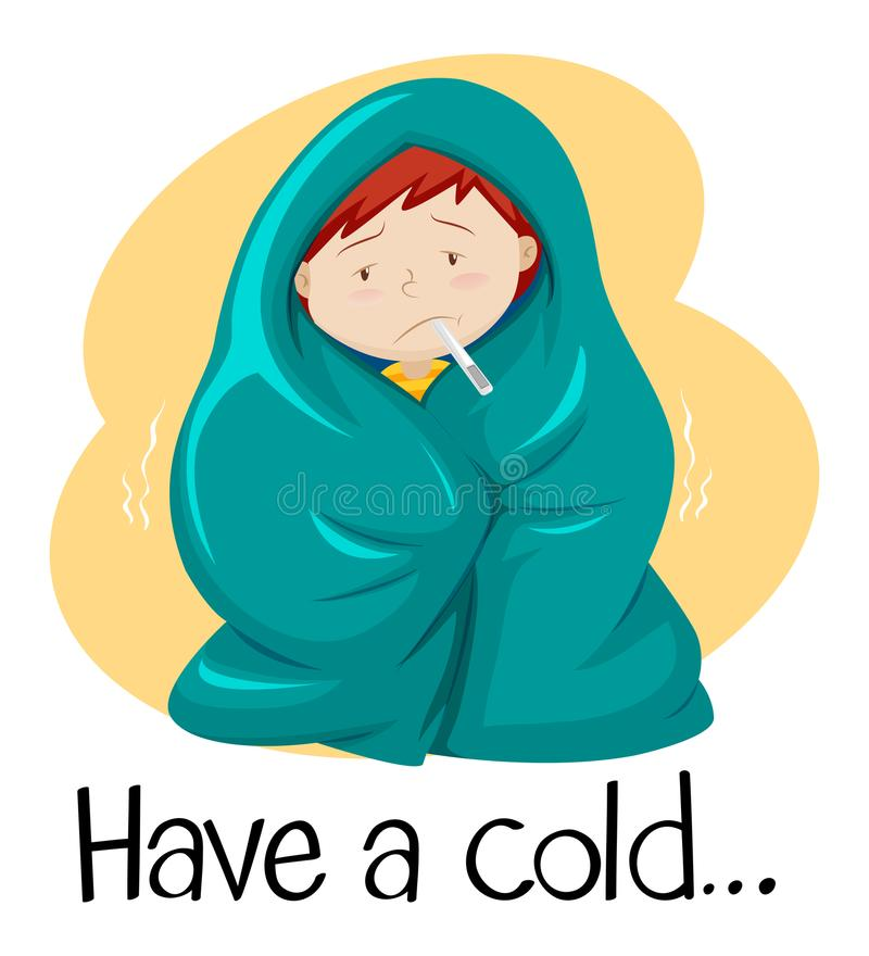 Word for have a cold with kid in blanket. Illustration royalty free illustration