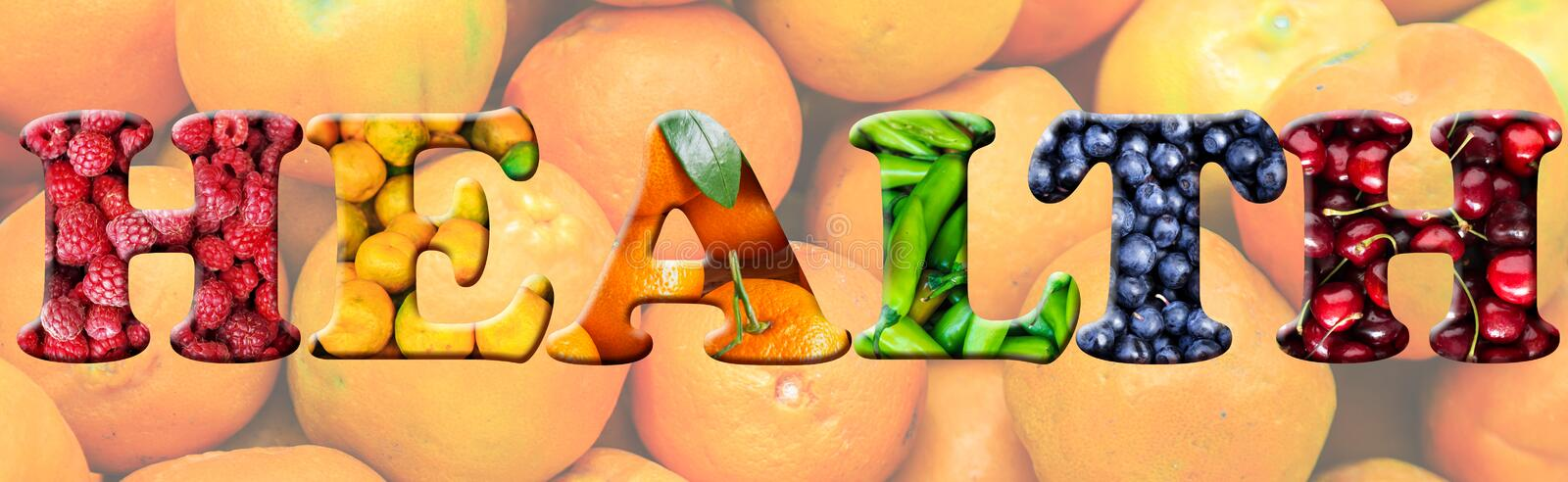 The word `health` of different vegetables and fruits. stock image