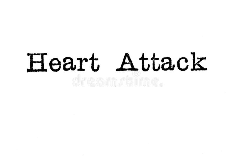 The word `Heart Attack` from a typewriter on white royalty free stock images