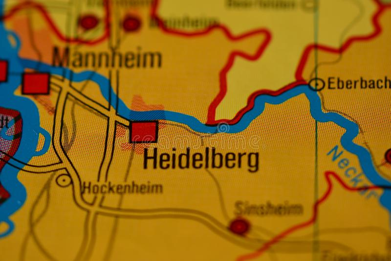 the word heidelberg germany on the physical map of the country