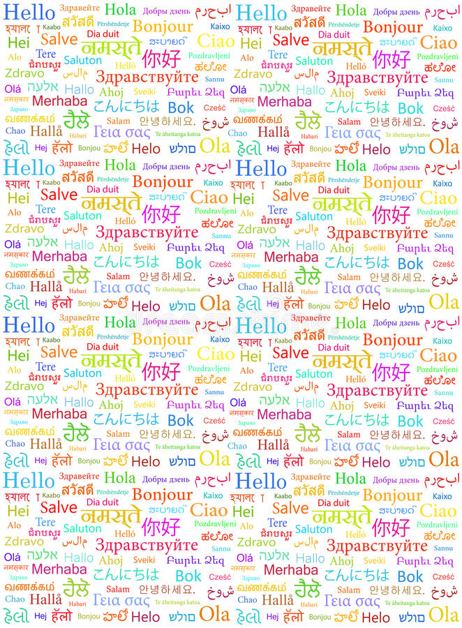 The word Hello written in different world languages stock illustration