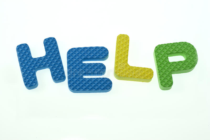 Word Help Spelled Out in Kids Blocks stock photography