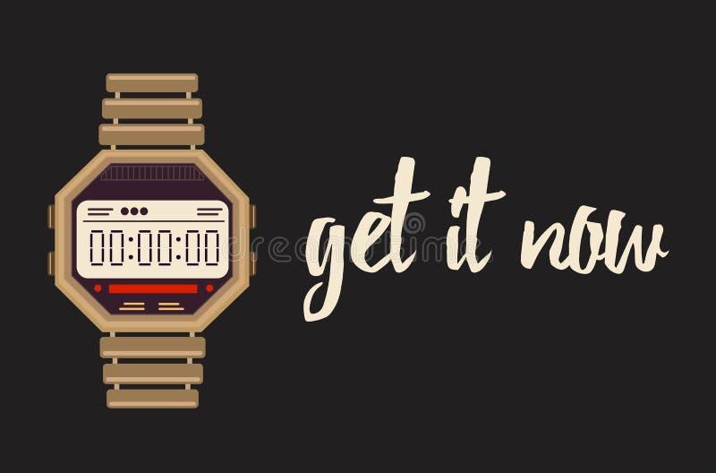 Word het nu banner met digitale horloges royalty-vrije illustratie