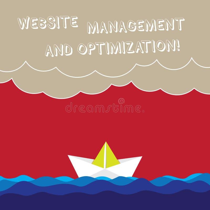 Word het schrijven het Beheer en de Optimalisering van de tekstwebsite Bedrijfsconcept die voor SEO online Zware inhoudsgolf opti vector illustratie