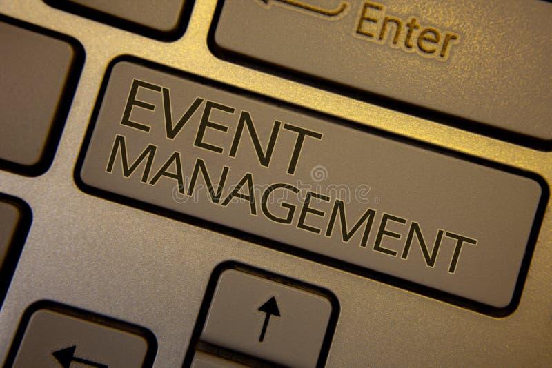 Word het schrijven het Beheer van de tekstgebeurtenis Het bedrijfsconcept voor de Speciale Organisatie van het Gelegenheidsprogra stock foto