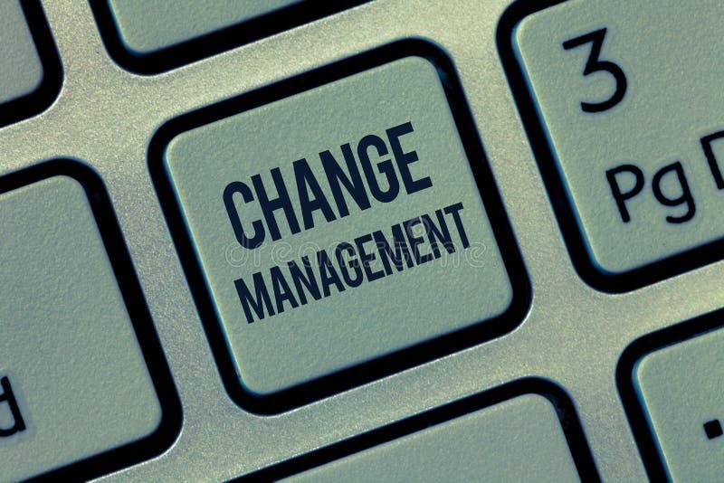 Word het schrijven het Beheer van de tekstverandering Bedrijfsconcept voor Vervanging van leiding in een organisatie Nieuw Beleid stock afbeelding