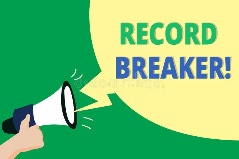 Word het schrijven de Breker van het tekstverslag Bedrijfsconcept voor iemand of iets wie vorig beste resultaat slaan stock illustratie