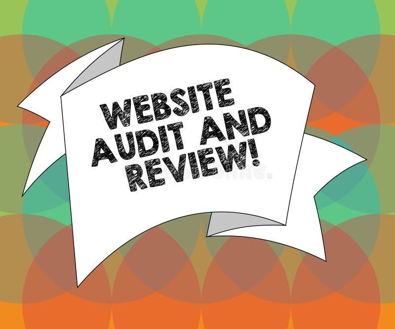 Word het schrijven de Controle en het Overzicht van de tekstwebsite Het bedrijfsconcept voor Evaluatie van de revisie van de webp stock illustratie