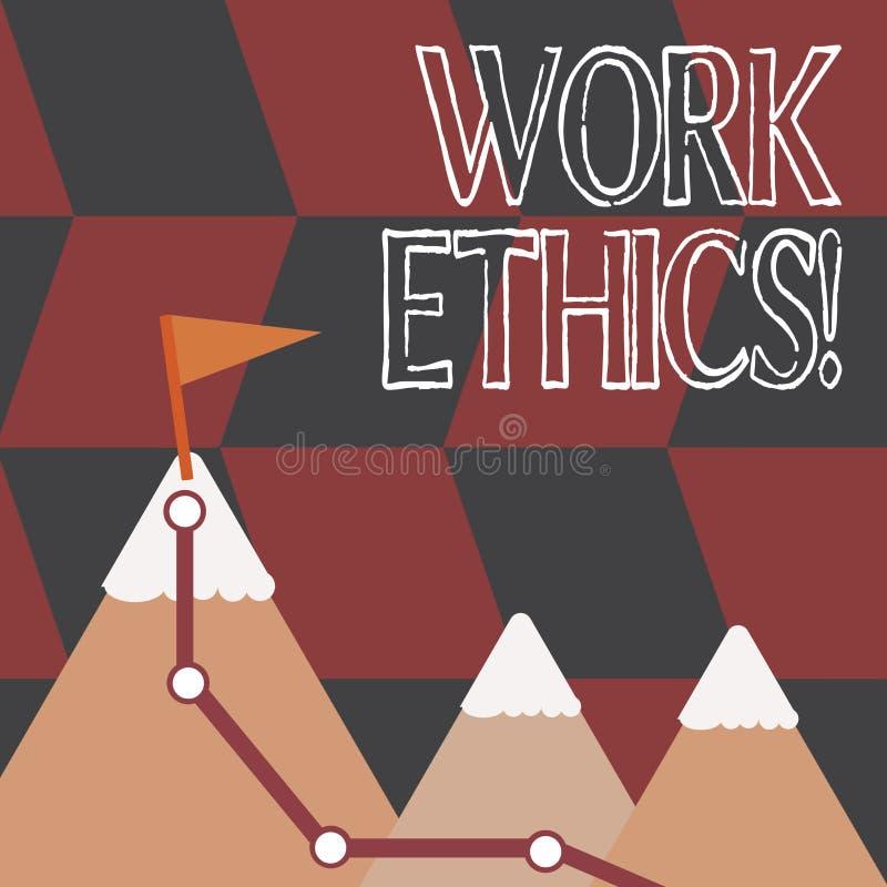 Word het schrijven de Ethiek van het tekstwerk Bedrijfsconcept voor principe die harde het werk intrinsiek positieve waardige bel stock illustratie