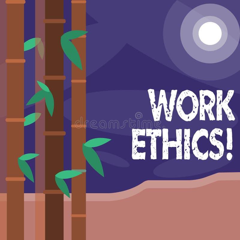 Word het schrijven de Ethiek van het tekstwerk Bedrijfsconcept voor principe die harde het werk intrinsiek positieve waardige bel royalty-vrije illustratie