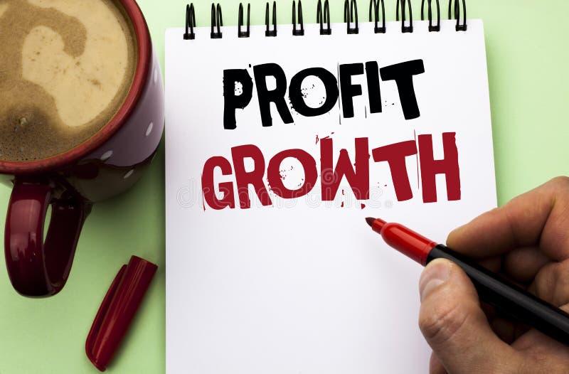 Word het schrijven de Groei van de tekstwinst Het bedrijfsconcept voor Financieel die Succes verhoogde de Ontwikkeling van de Opb royalty-vrije stock foto