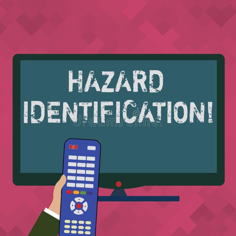 Word het schrijven de Identificatie van het tekstgevaar Bedrijfsdieconcept voor proces wordt gebruikt om gevaren in de werkplaats royalty-vrije illustratie