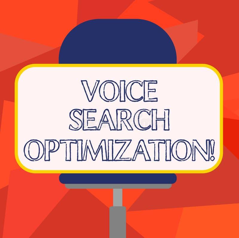 Word het schrijven de Optimalisering van tekstvoice search Het bedrijfsconcept voor verbetert Web zoekend door gesproken comanaly royalty-vrije illustratie