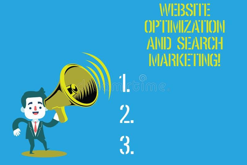 Word het schrijven de Optimalisering van de tekstwebsite en Zoeken Marketing Bedrijfsconcept voor de Mens van de Zoekmachineoptim vector illustratie