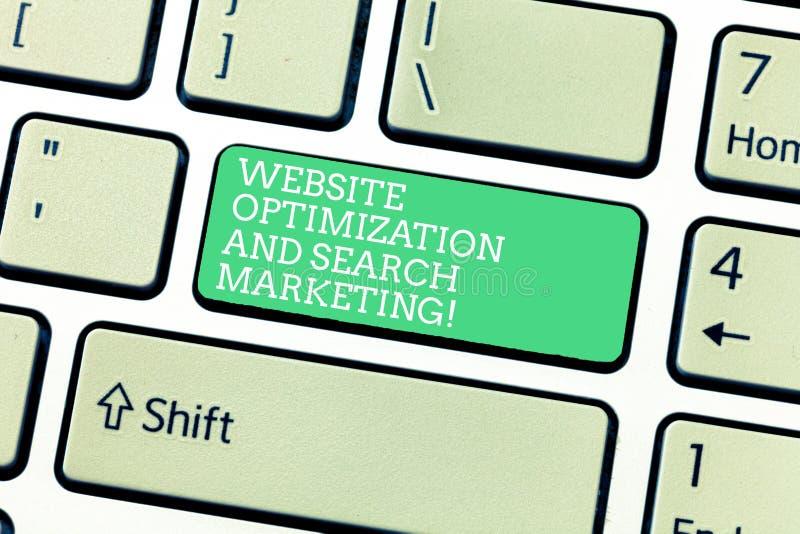 Word het schrijven de Optimalisering van de tekstwebsite en Zoeken Marketing Bedrijfsconcept voor het Toetsenbord van de Zoekmach stock illustratie