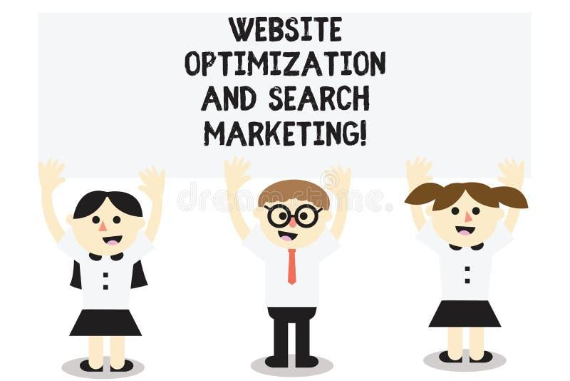 Word het schrijven de Optimalisering van de tekstwebsite en Zoeken Marketing Bedrijfsconcept voor Zoekmachineoptimalisering Drie stock illustratie