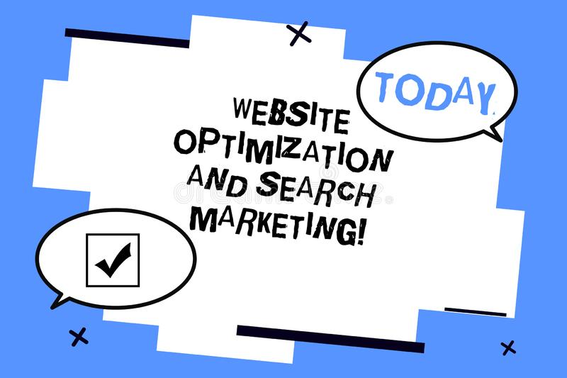 Word het schrijven de Optimalisering van de tekstwebsite en Zoeken Marketing Bedrijfsconcept voor Zoekmachineoptimalisering Twee  stock illustratie