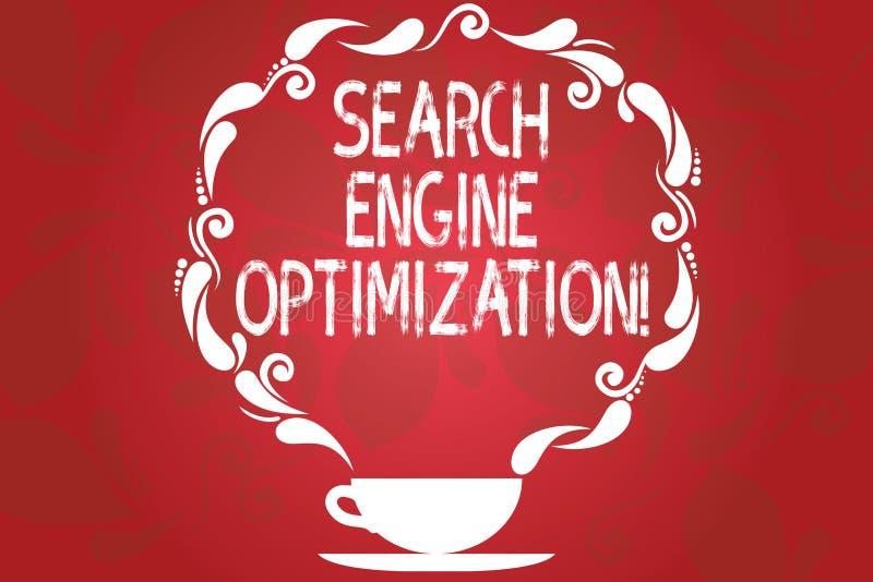 Word het schrijven de Optimalisering van de tekstzoekmachine Bedrijfsconcept voor het maximaliseren van het aantal bezoekers aan  stock illustratie