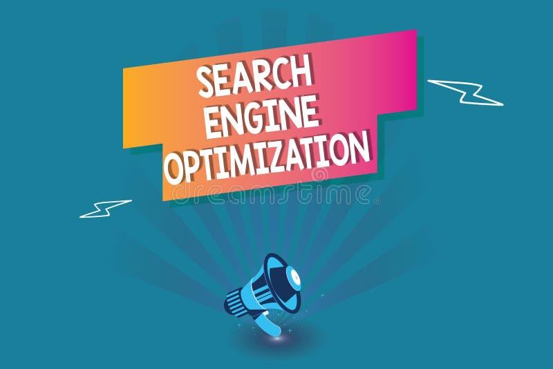 Word het schrijven de Optimalisering van de tekstzoekmachine Bedrijfsconcept voor het maximaliseren van de aantal ofWebsite Bezoe vector illustratie