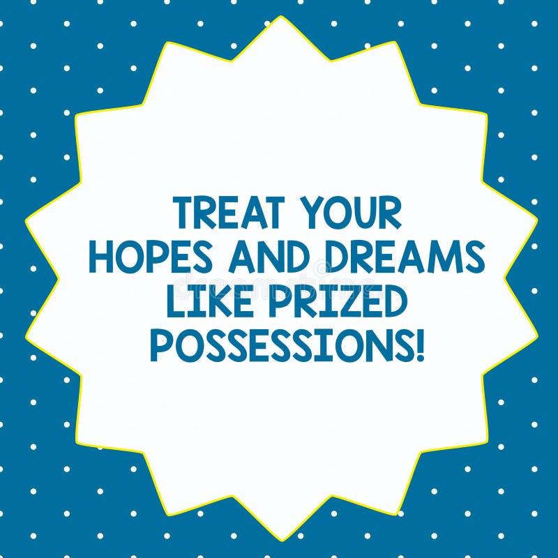 Word het schrijven de tekst behandelt Uw Hoop en Dromen zoals Gewaardeerd Bezit Bedrijfsconcept voor Waarde uw wensen Veertien vector illustratie
