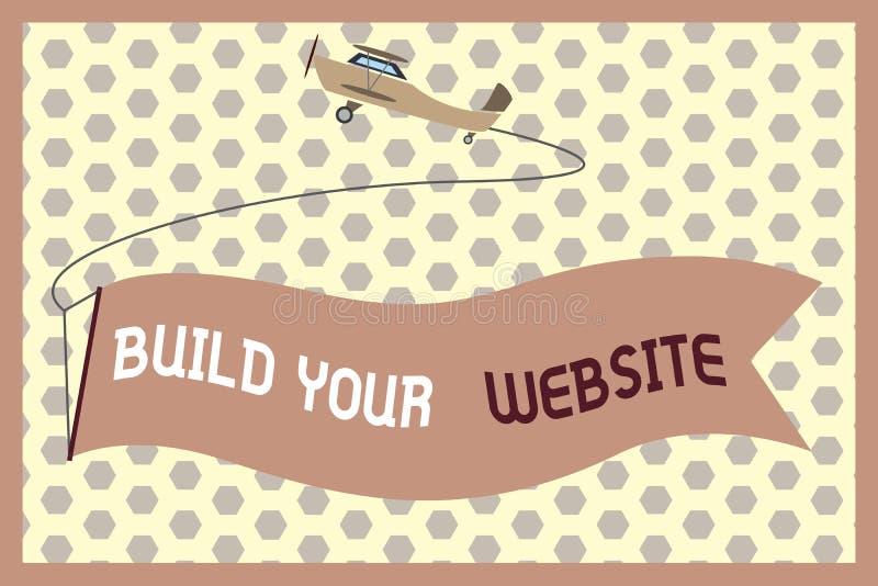 Word het schrijven de tekst bouwt Uw Website Bedrijfsconcept voor Vestiging een elektronische handelsysteem om zaken op de markt  royalty-vrije illustratie
