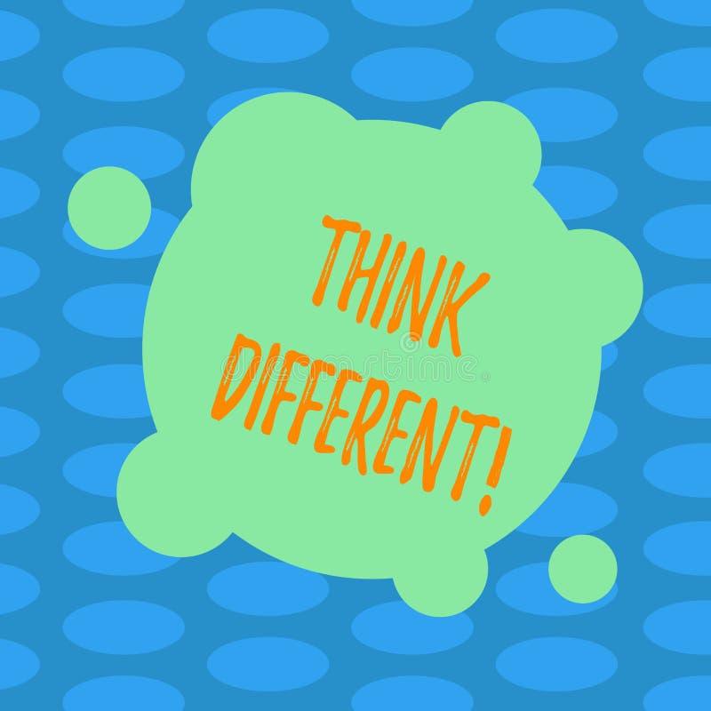 Word het schrijven de tekst denkt Verschillend Het bedrijfsconcept voor heroverweegt Verandering op visie verwerft Nieuwe Ideeën  stock illustratie