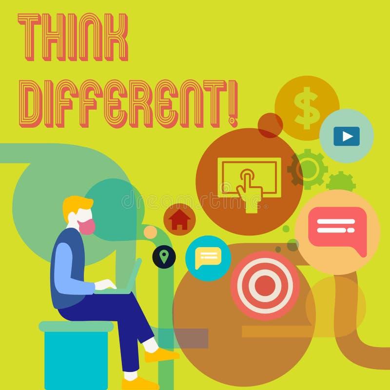 Word het schrijven de tekst denkt Verschillend Het bedrijfsconcept voor Rethink Verandering op visie verwerft Nieuwe Ideeën verni stock illustratie