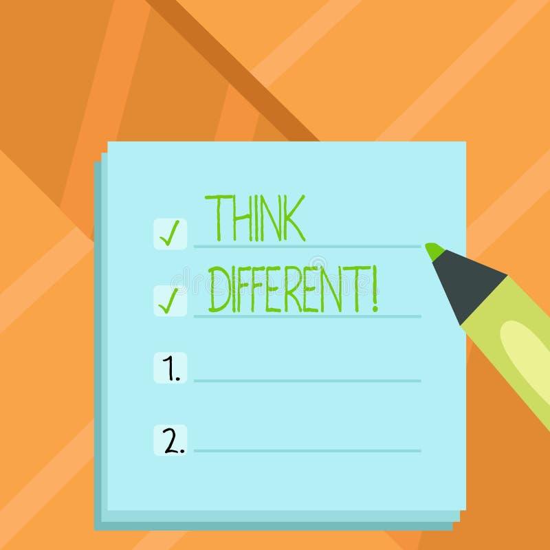Word het schrijven de tekst denkt Verschillend Het bedrijfsconcept voor Rethink Verandering op visie verwerft Nieuwe Ideeën verni royalty-vrije illustratie