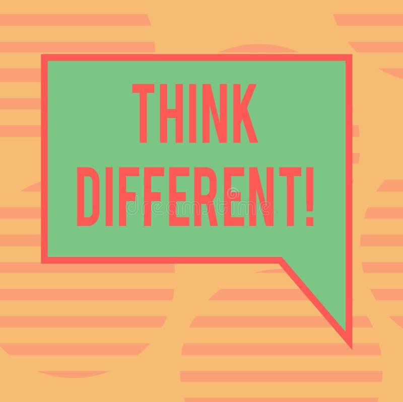 Word het schrijven de tekst denkt Verschillend Het bedrijfsconcept voor Rethink Verandering op visie verwerft Nieuwe Ideeën verni vector illustratie