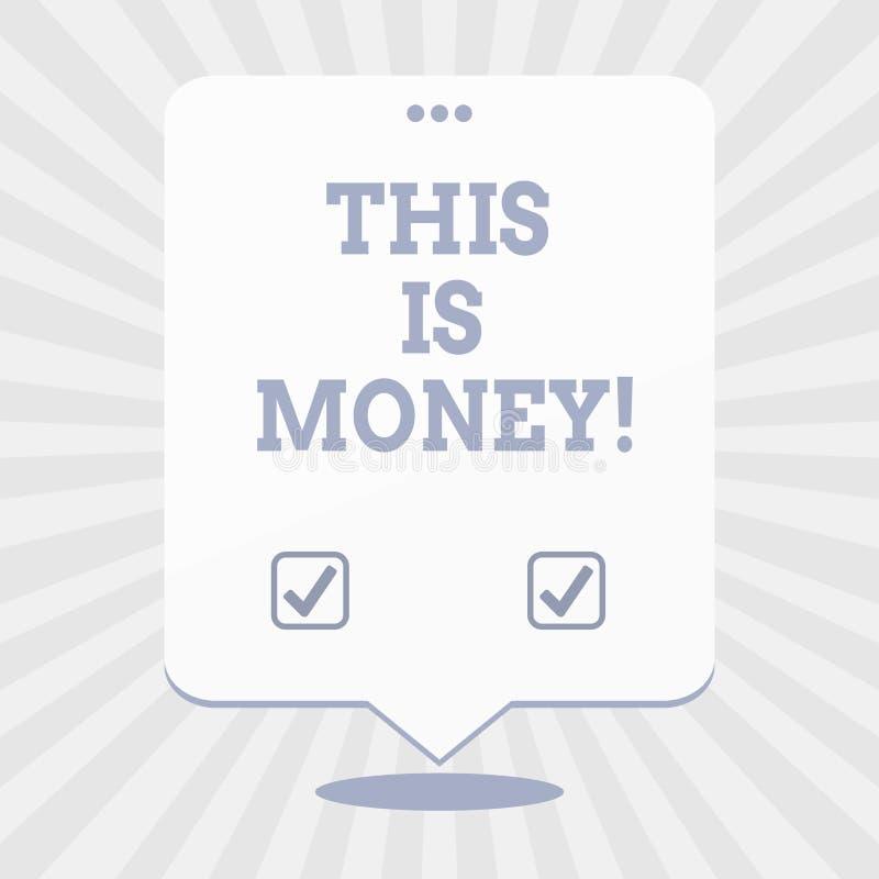 Word het schrijven de tekst dit is Geld Bedrijfsconcept voor Grote opbrengsten van het werk of investerings de inkomens van Goedi royalty-vrije illustratie