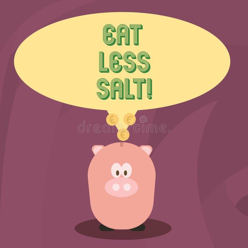 Word het schrijven de tekst eet Minder Zout Bedrijfsconcept voor Reduce de hoeveelheid natrium in uw dieet gezond eten stock illustratie