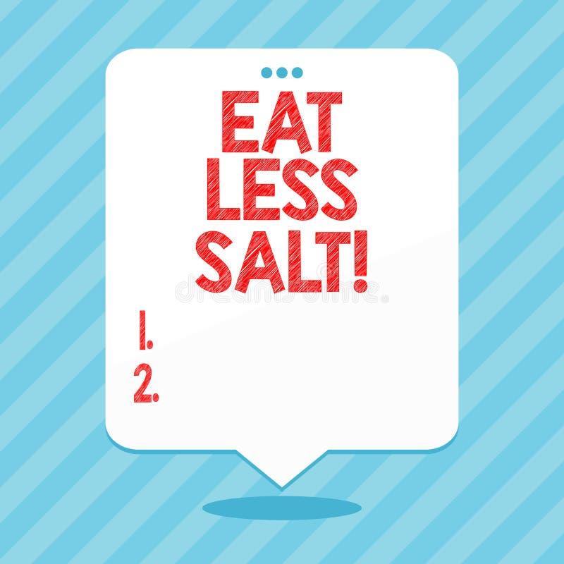 Word het schrijven de tekst eet Minder Zout Bedrijfsconcept voor Reduce de hoeveelheid natrium in uw dieet gezond eten vector illustratie