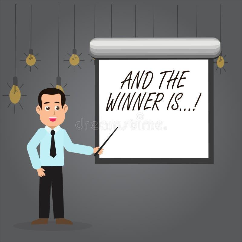 Word het schrijven de tekst en de Winnaar zijn Bedrijfsconcept voor het aankondigen van wie eerste plaats bij de concurrentie of  stock illustratie