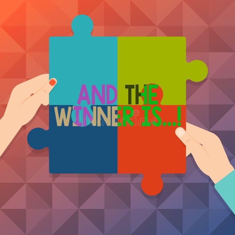 Word het schrijven de tekst en de Winnaar zijn Bedrijfsconcept voor het aankondigen van wie eerste plaats bij de concurrentie of  vector illustratie