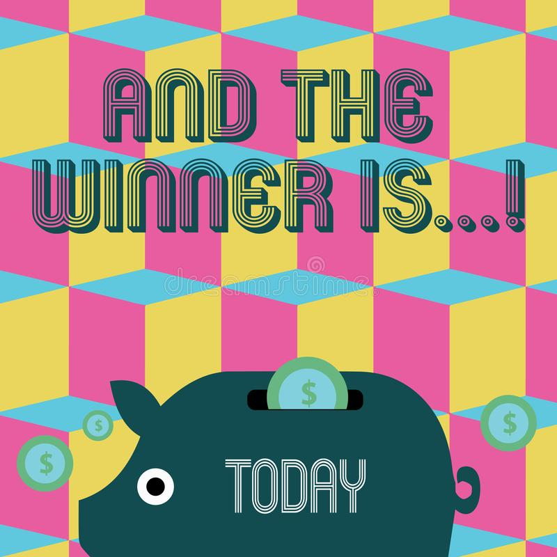 Word het schrijven de tekst en de Winnaar zijn Bedrijfsconcept voor het aankondigen van wie eerste plaats bij de concurrentie of  royalty-vrije illustratie